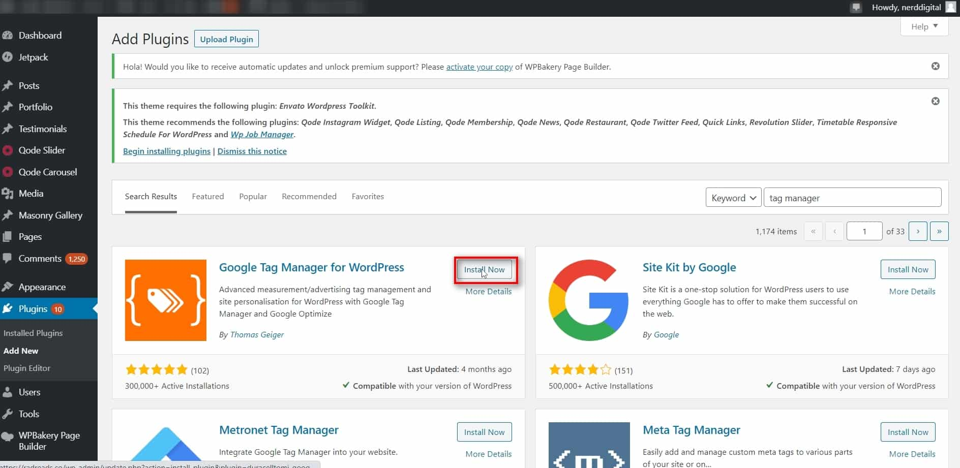 Install Google Tag Manager Plugin Log into WordPress Go to Plugins/Add New Search for tag manager Install the Google Tag Manager for WordPress by Thomas Geiger Activat plugin